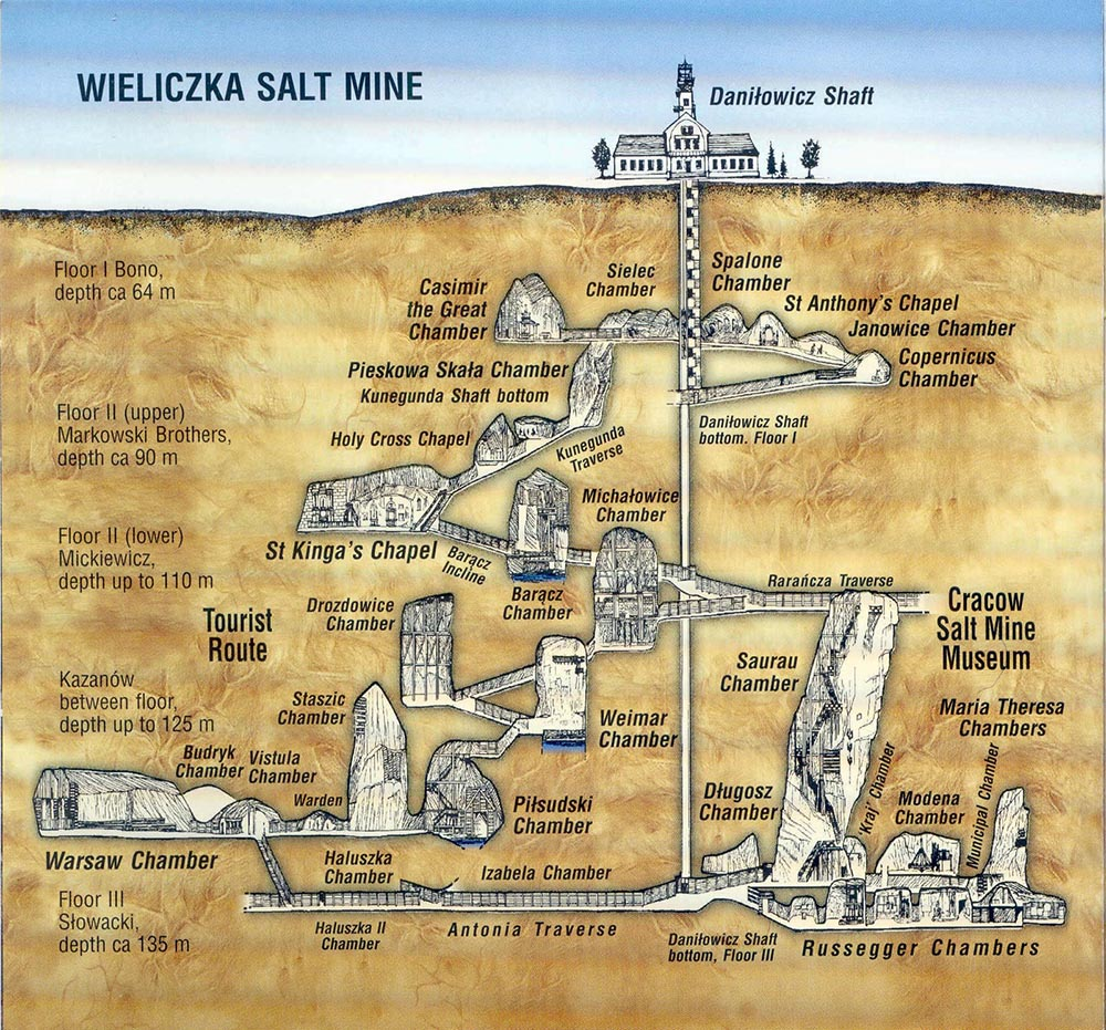 Map of the underground salt mine